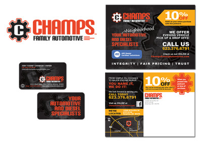 Champs Family Automotive Logo, Business Card and Postcard Design