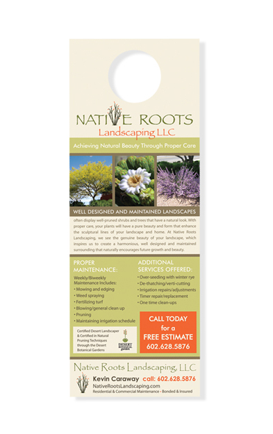 Native Roots Landscaping Door Hanger Design