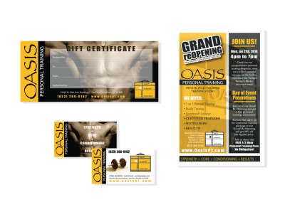 Oasis Personal Training Studio Gift Certificate, Business Card & Flyer Design