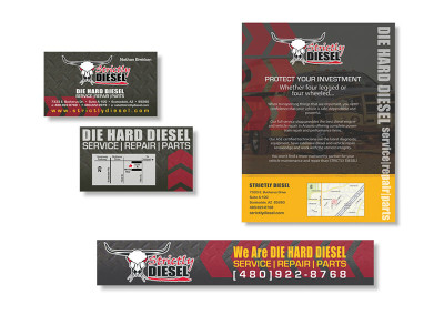 Strictly Diesel Business Card, Web Banner & Magazine Ad Design